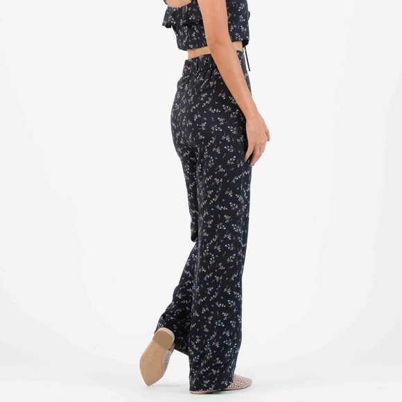 Lucca Couture Pants - LUCCA COUTURE Iris Palazzo Navy Floral Print Pants